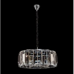 Large Round Chandelier with Rectangular Crystal Slabs