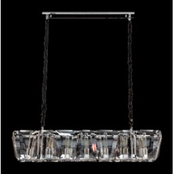 Large Rectangle Chandelier with Angled and Trapezium Crystal Slabs