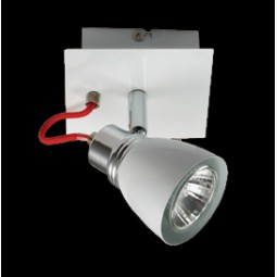 Single Adjustable White and Chrome Spot Light on a Bar